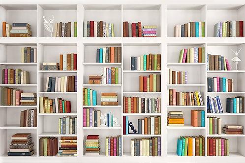 3d фотообои с книжной полкой