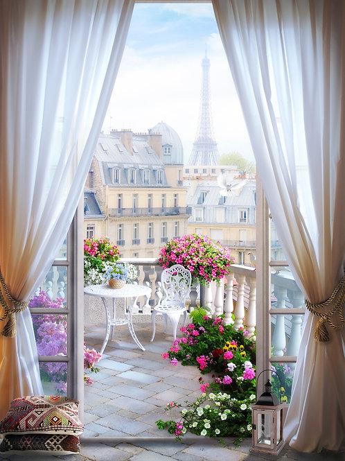 Фотообои или фреска - Парижский балкон