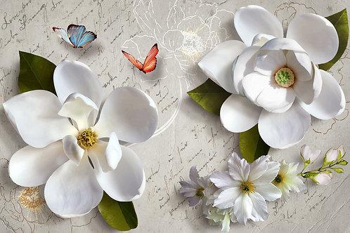 3d фотообои - Белые магнолии