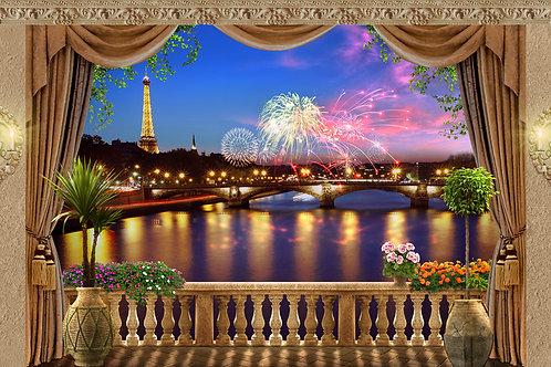 """Фотообои или фреска """"Вечерний Париж"""""""