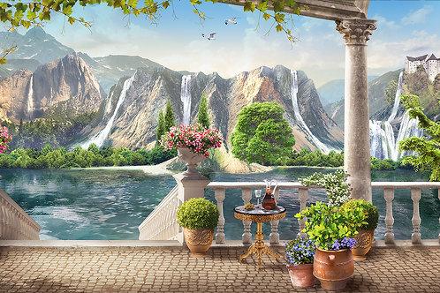 Фотообои или фреска - Терраса с видом на горные водопады