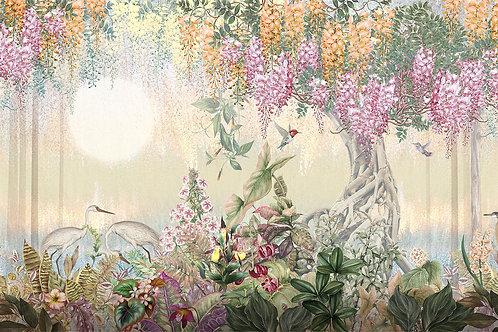 Фотообои - Рисованное дерево в цветах