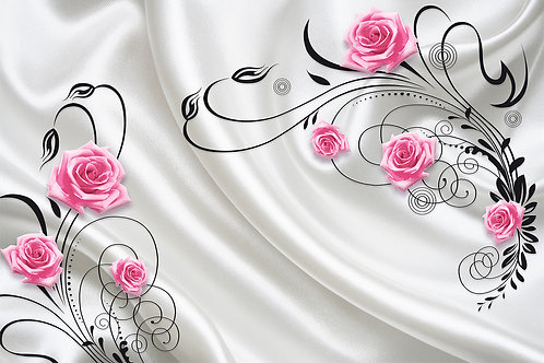 3d фотообои на стену - Розы на шелке