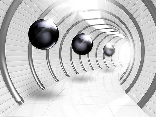 3d фотообои - Тоннель с черными шарами