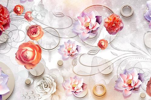 3d фотообои - Фантазия с цветами