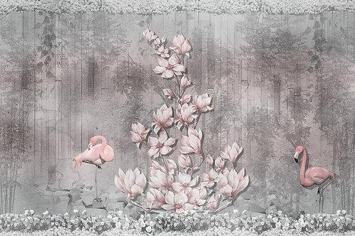 Фотообои или фреска - Фламинго и магнолии