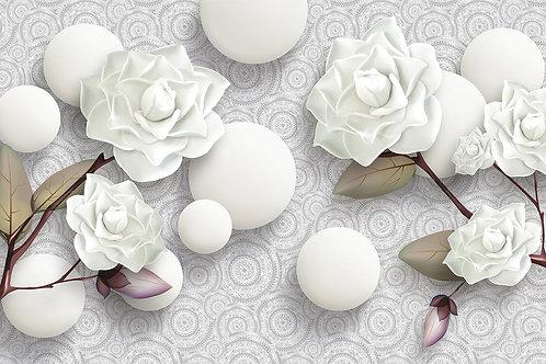 3d фотообои -Белые розы и шары