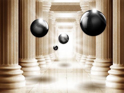 3d фотообои на стену - Колонны с черными шарами