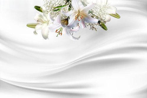 3d фотообои - Лилии на белом шелке