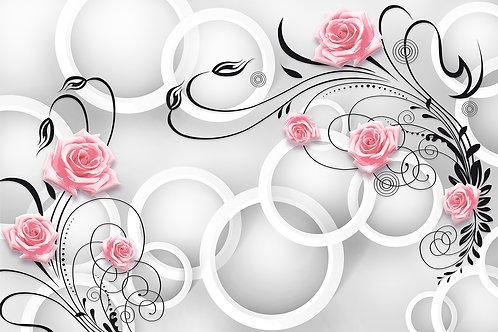 3d фотообои - Круги и розы