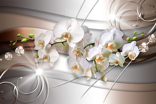 Фотообои - Орхидеи на металлике