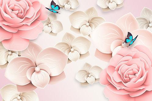 Дизайнерские фотообои - 3d цветы