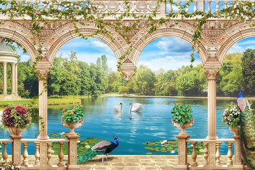 Фотообои или фреска с террасой на озере
