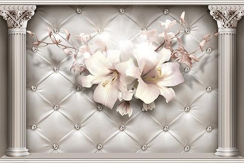 3д фотообои -Колонны с лилиями на коже