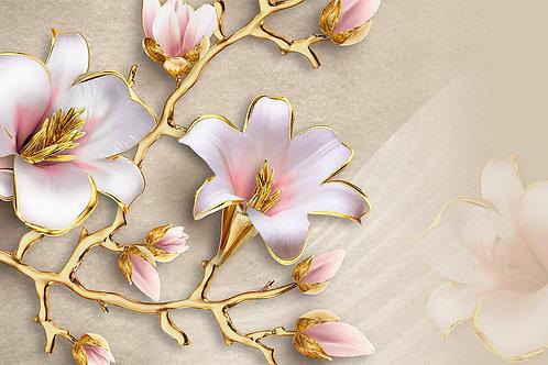 3д фотообои - Золотые цветы