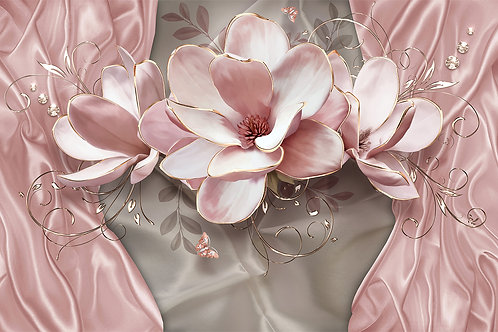 3d Фотообои на стену - Розовая магнолия
