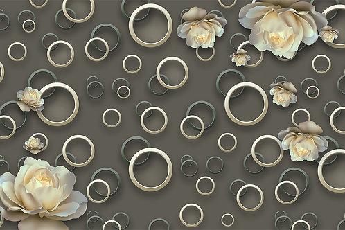 3d фотообои -Абстракция с кругами и розами