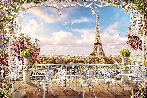 """Фотообои или фреска """"Балкончик в Париже"""""""
