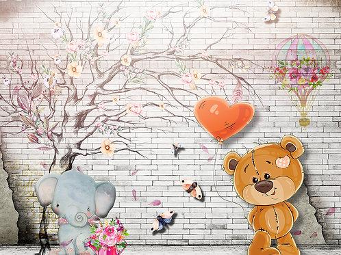 Детские фотообои - Мишка и слоник