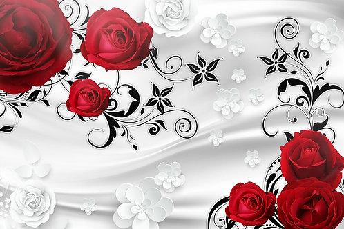 3d фотообои - Розына белом шелке
