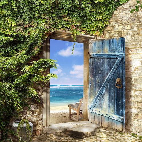 """Фотообои или фреска """"Дверь на море"""""""