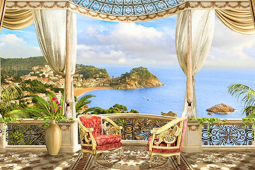 """Фотообои или фреска """"Романтика на балконе"""""""