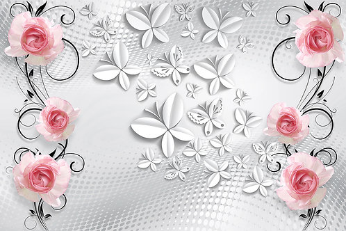 3d фотообои на стену с бабочками и розами