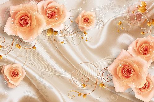 3d фотообои с розами на шелке