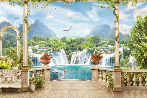 Фотообои или фреска - Балкон с баллюстрадами у водопадов