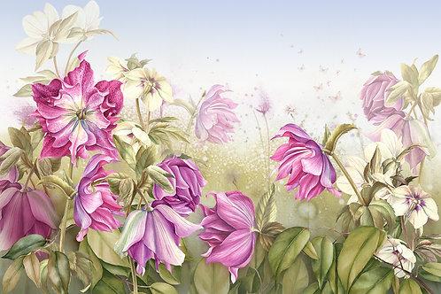 Фотообои на стену с рисованными цветами