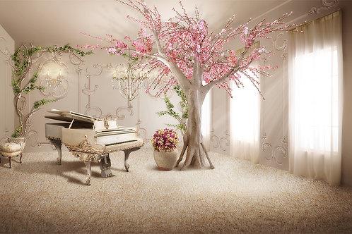 """3d фотообои """"Комната с роялем"""""""
