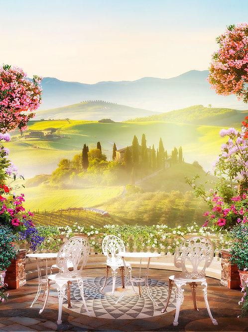 Фотообои или фреска -Тосканский балкончик