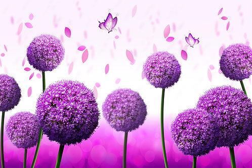 Фотообои на стену - Фиолетовые шарики в цвету