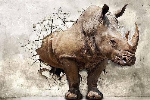 """3d фотообои """"Носорог из стены"""""""