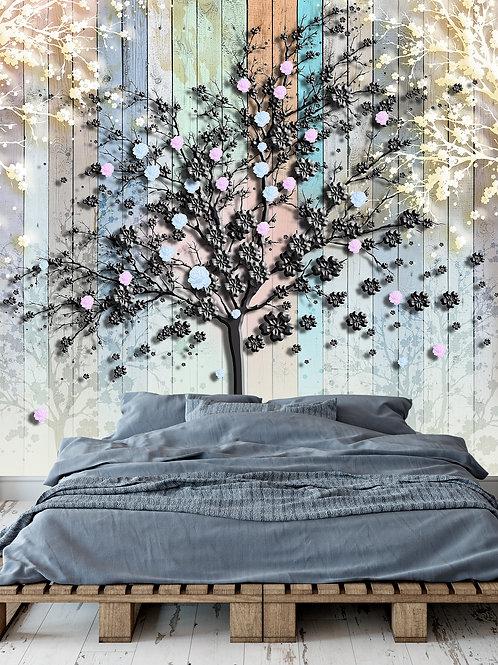 3d фотообои - Дерево из черного металла