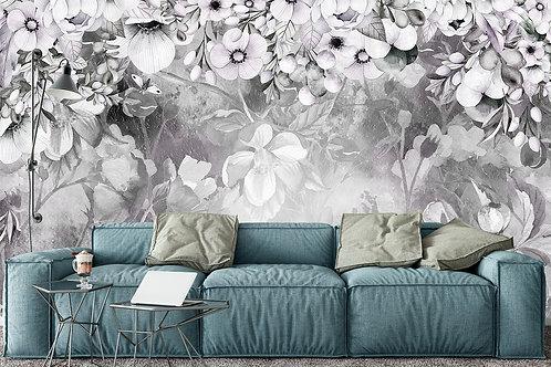 Дизайнерский фотообои - Silver flower