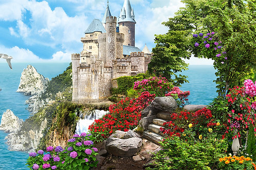 "Фотообои или фреска ""Панорама с замком и балконами"""