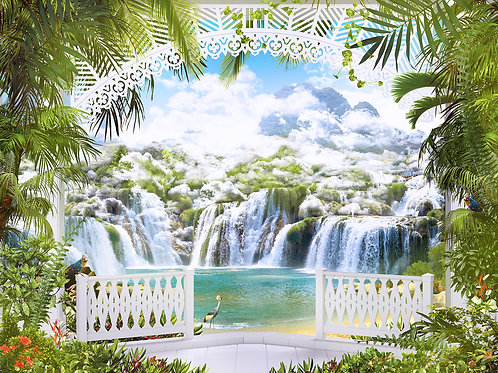 Фотообои или фреска - Арка с видом на водопады