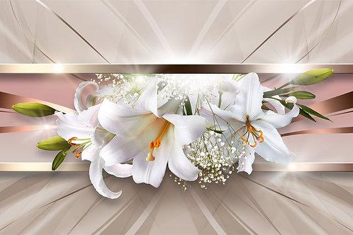 3d фотообои для стен - Белые лилии