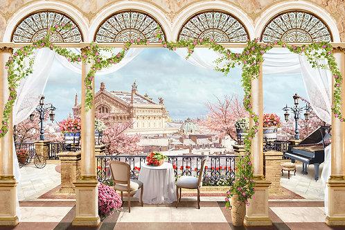 """Фотообои или фреска """"Балкон в Китае"""""""