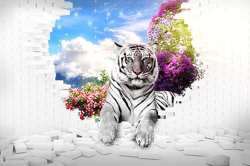 3d фотообои с белым тигром