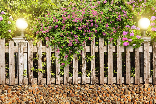 3d фотообои - Забор в цветах