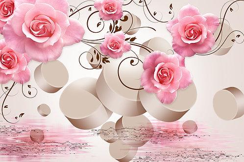 3d фотообои на стену - Розы с 3d кругами