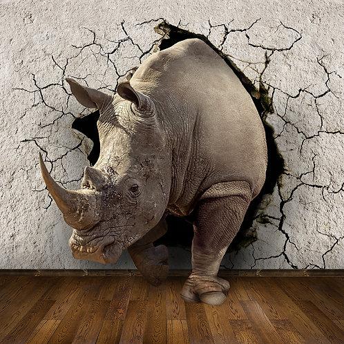 Дизайнерские фотообои на стену с носорогом