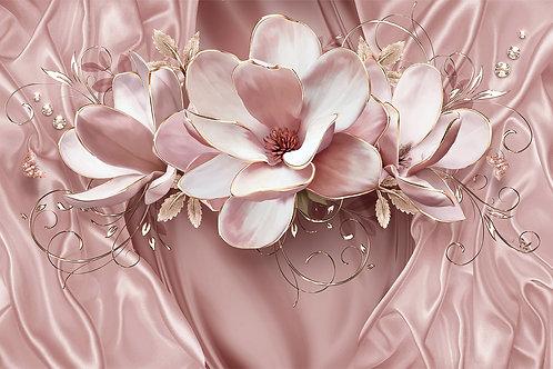 3d Фотообои на стену - Розовая магнолия на шелке