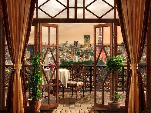 Фотообои или фреска - Вечер в Париже с балкона