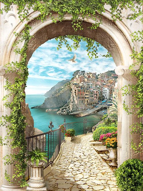 Фотообои или фреска - Вид через арку на прибрежный городок