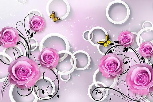 3d фотообои на стену - Розы с кругами и бабочками