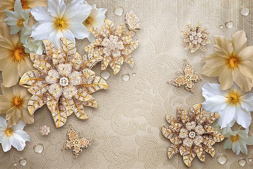 3d фотообои на стену - Драгоценные цветы