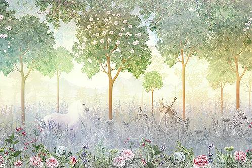 Фотообои или фреска -Волшебный лес